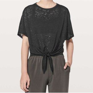 Lulu In Sequence SS Tie-Front Burnout Sheer Shirt